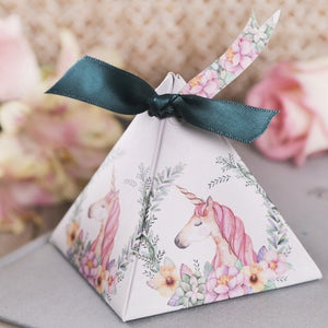50 PCS Unicorn Triangular Pyramid Wedding Favor Candy Boxes With Ribbons & Tags