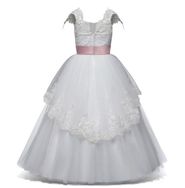 Long White Flower Girl Dress with Elegant Floral Lace Design and Pink Belt