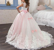 Long Flower Girl Dress with Elegant Ribbons and Patterns