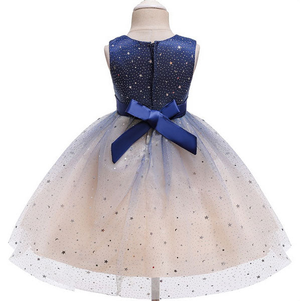 Royal Blue and White Flower Girl Dress with White Sparkles Design and Ribbon Belt