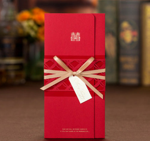 40 PCS Chinese Wedding Invitation With Red Laser Cut Design & Thin Elegant Gold Ribbon