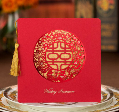 40 PCS Chinese Wedding Invitation With Red Laser Cut Double Happiness Design & Gold Tassel