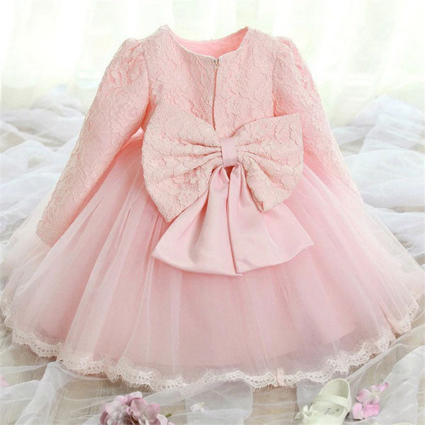Pink Long Sleeve Lace Flower Girl Dress with Tulle Skirt for 12M - 24M