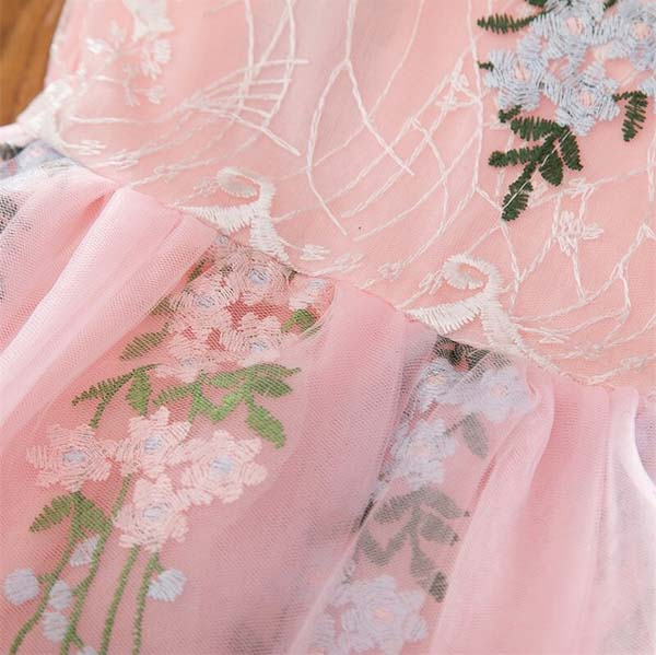 Elegant Blush Pink Flower Girl Dress with Pretty Floral Design