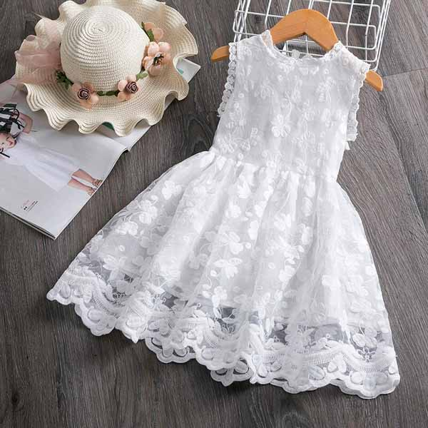 Casual Flower Girl Dress with Beautiful Floral Pattern in White and Red