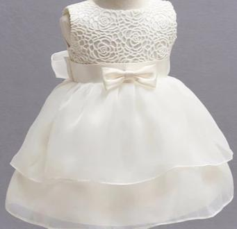 Elegant White Flower Girl Dress with Classic Ribbon & Rose Pattern Stitching
