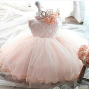 Sleeveless Lace Flower Girl Dress with Tulle Skirt for 12M - 24M