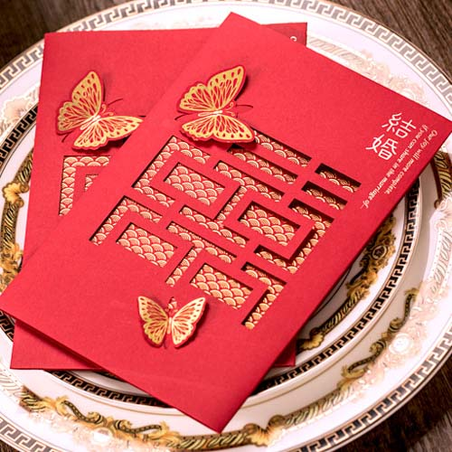 40 PCS Chinese Wedding Invitation Set with Laser Cut Double Happiness & Butterfly Theme
