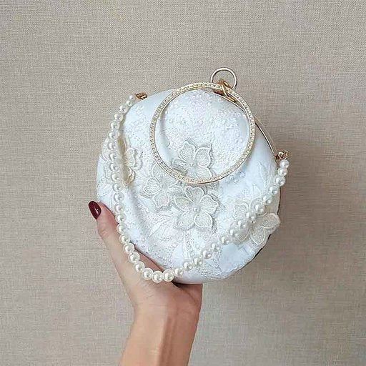 White Round Floral Embroidery Bridal Clutch Wedding Handbag with Pearl Handle and Metal Wristlet