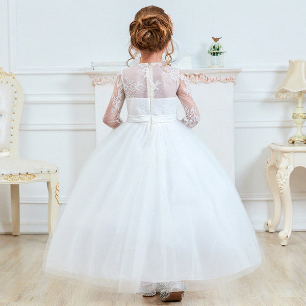 Classic White Flower Girl Dress with Elegant Floral Lace Long Sleeves