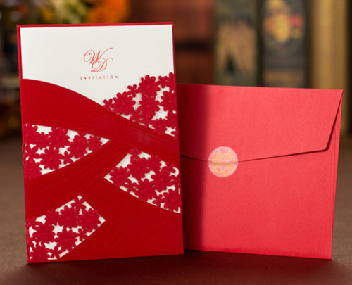 40 PCS Chinese Floral Laser Cut Wedding Invitation Set with Main Invite and Envelope