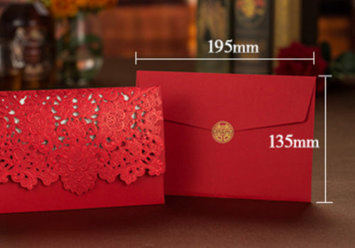 40 PCS Chinese Wedding Invitation With Laser Cut Florals Set with Main Invite and Envelope