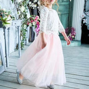 Quarter Sleeve Flower Girl Dress with Floral Lace Design and Long Flowing Skirt