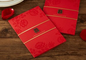 40 PCS Chinese Wedding Invitation With Luxe Metal Double Happiness Sign & Gold Foil Outer Lettering