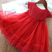Classic Red Flower Girl Dress with Floral Pattern and Loose Tulle Lace Skirt