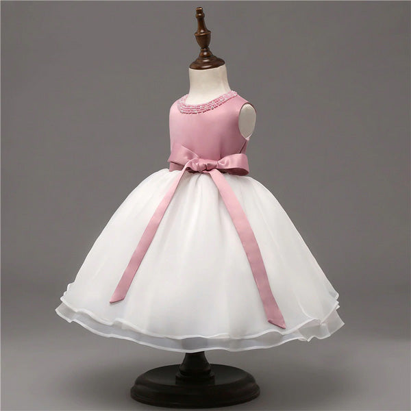 Pink and White Flower Girl Dress with Pretty Beads on Neckline and Ribbon Belt