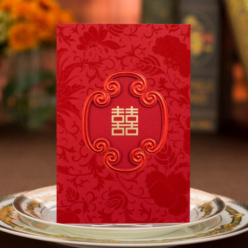 40 PCS Chinese Wedding Invitation Set with Gold Double Happiness Main Invite and Envelope