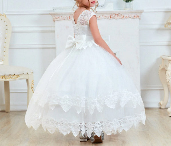 White Flower Girl Dress with Elegant Floral Lace Design and Ribbon Belt