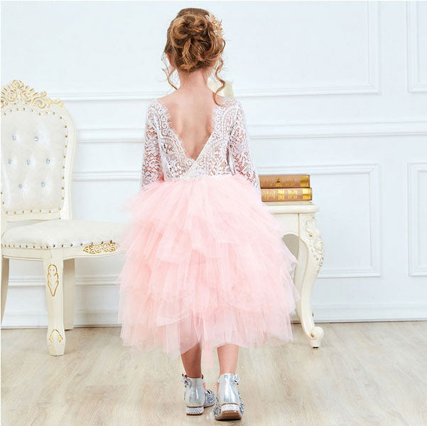 Long Sleeve Flower Girl Dress with Lace Top & Tutu Tulle Layered Skirt