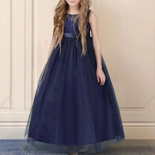 Sleeveless Long Flower Girl Dress with Floral Lace Design and Ribbon Belt
