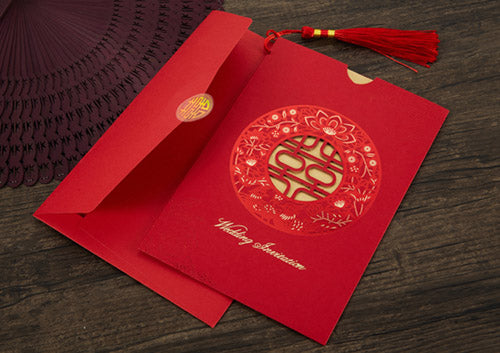 40 PCS Chinese Wedding Invitation With Red & Gold Laser Cut Double Happiness Outer Card