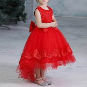 Red Flower Girl Dress with Elegant Design and Layered Balloon Skirt