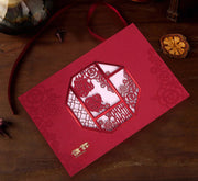 40 PCS Chinese Wedding Invitation With Red Love Birds Double Happiness Laser Cut Design