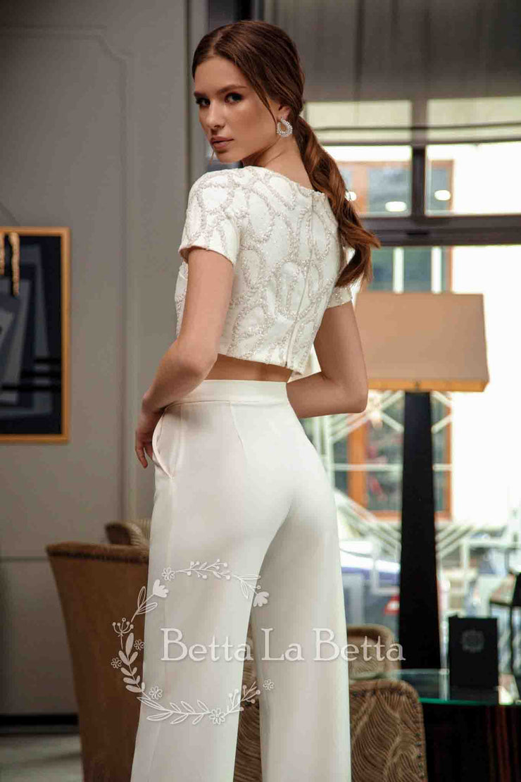 [RENT OR BUY] 'Kira' Chic Bridal Suit Pants and Embroidered Top Wedding Bridal Look