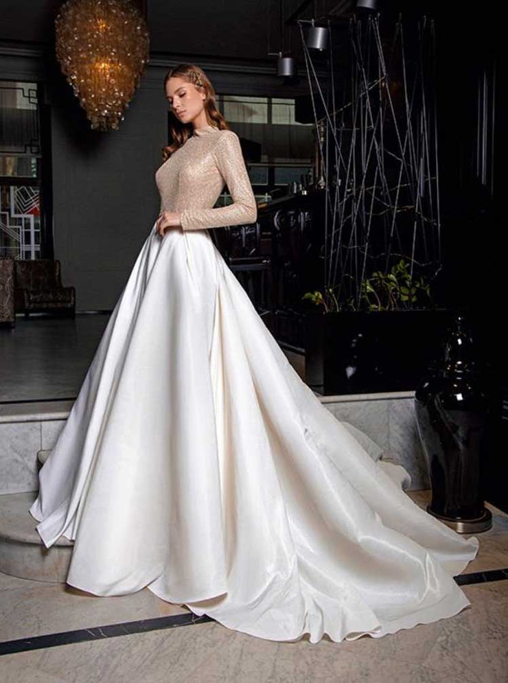 [RENT OR BUY] 'Darina' Unique Elegant Two Way Gold Sparkly Bridal Wedding Dress with Detachable Long Skirt