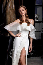 [RENT OR BUY] 'Ada' Short Bridal Dress with Ruffled Sleeve Cold Shoulder and Elegant Front Slit