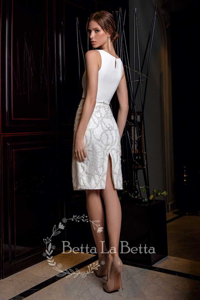 [RENT OR BUY] 'Rada' Pair Boat Neck Sleeveless Top and Pencil Cut Skirt Bridal Wedding Look
