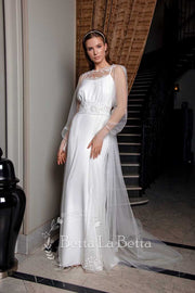 [RENT OR BUY] 'Bell' White Tulle See Through Bridal Wedding Dress with White Silk Inner Dress