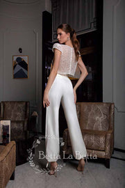 [RENT OR BUY] 'Kara' Crop Top with Pearl Beads and High Waist Harem Slacks Bow Tie Bridal Wedding Look