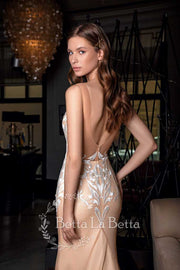 [RENT OR BUY] Mermaid Champagne Cream Evening Dress with White Lace Embroidery