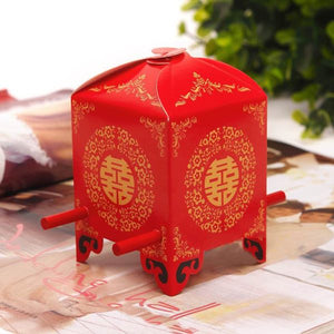 70 PCS Red & Gold Double Happiness Sedan Chair Wedding Favor Boxes
