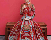 Wedding Kua 龍鳳卦/秀禾服 in Red with Blue & Gold Embroideries
