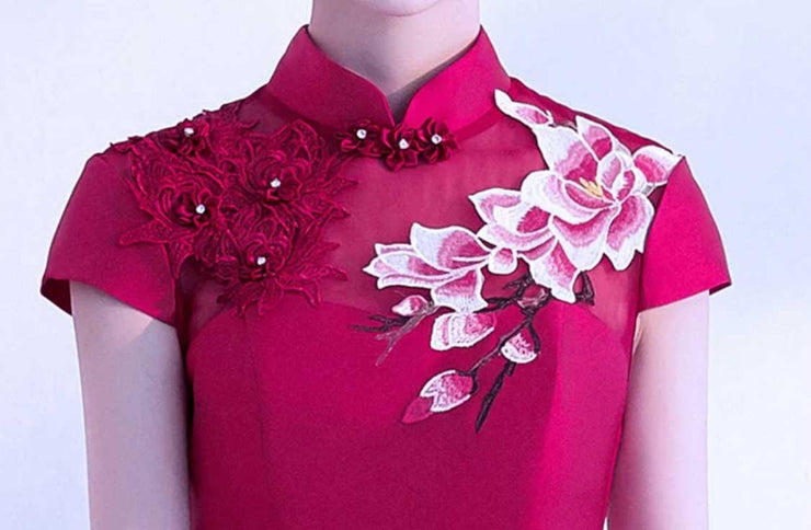 Wedding Cheongsam/Ao Dai/Qipao 旗袍/奧黛 [CUSTOM MADE] with Peacock Floral Design