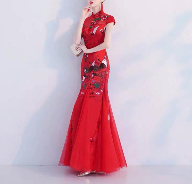 Nature Inspired Red Wedding Cheongsam/Ao Dai/Qipao 旗袍/奧黛 Dress