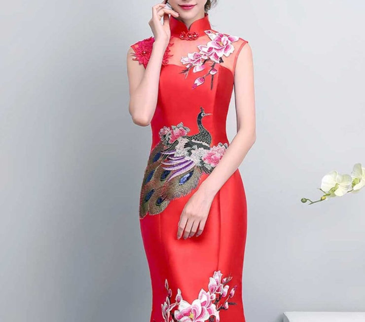 Florals With Peacock Design Wedding Cheongsam/Ao Dai/Qipao 旗袍/奧黛 Red Elegant Dress