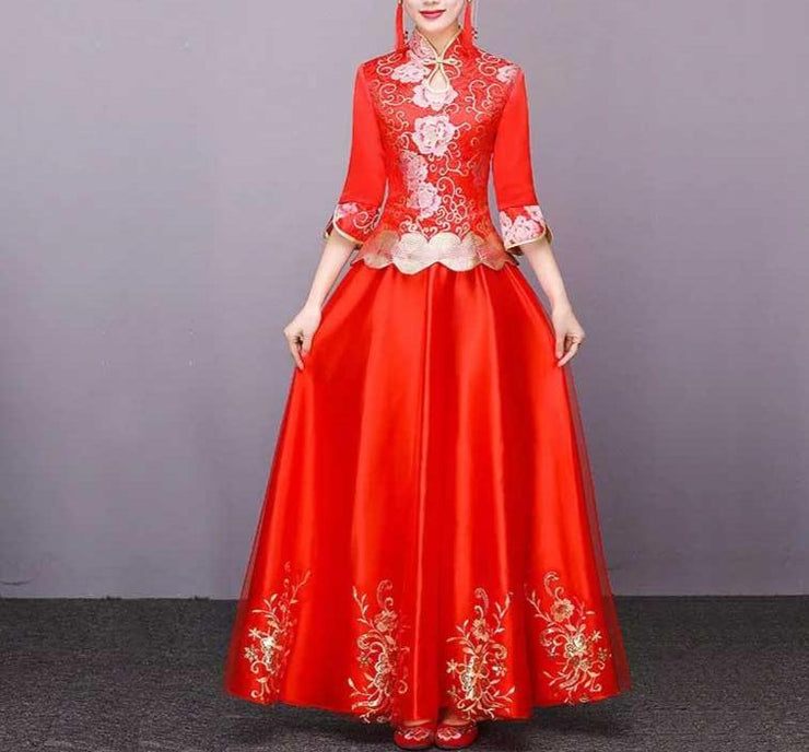 Pink Floral And Golden Design Red Wedding Cheongsam/Ao Dai/Qipao 旗袍/奧黛 Dress