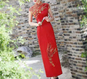 Red Wedding Cheongsam/Ao Dai/Qipao 旗袍/奧黛 [CUSTOM MADE] Dress Designed With Golden Lace Floral