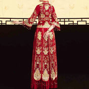 Red Wedding Kua 龍鳳卦/秀禾服 Qun Kua Cheongsam for Bride with Elegant Traditional Chinese Design