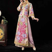 Gold and Pink Wedding Kua 龍鳳卦/秀禾服 Qun Kua Cheongsam for Bride with Colorful Floral and Peacock Tail Beads Design