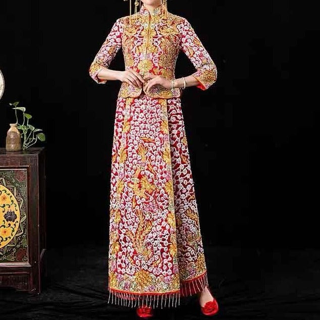 Golden Wedding Kua 龍鳳卦/秀禾服 Qun Kua Cheongsam for Bride with Full Embroidered Long Sleeve Top Coat and Skirt