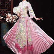 Pink Wedding Kua 龍鳳卦/秀禾服 Qun Kua Cheongsam for Bride with Pleated and Tassel Design Skirt and Peacock Embroidery In Front