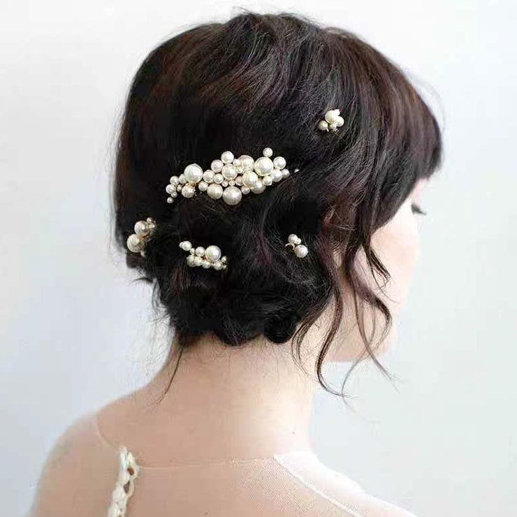 Bridal Wedding Accessory Hairband with 3 Hair Comb and 2 Hairpin Pearl Design