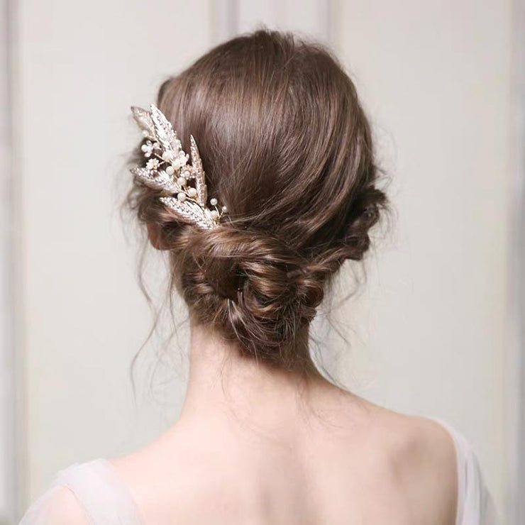 Gold Flower and Leaf Hair Comb Design Bridal Wedding Accessory Hairband