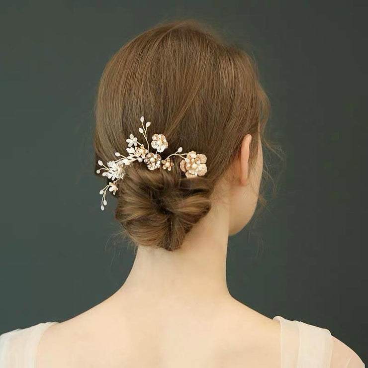 3 Pieces Floral Hairpin Design Bridal Wedding Accessory Hairband
