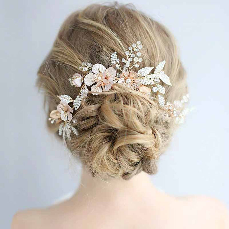 Crystal and Rosegold Flower Hairpin Bridal Wedding Accessory Hairband