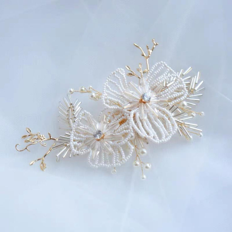 White Flower Pearl Bridal Wedding Accessory Hairband